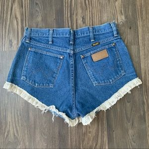 Wrangler Jeans Shorts with Lace Trim